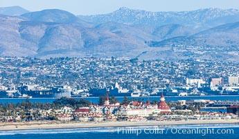 Hotel Del Coronado and Coronado Island City Skyline, viewed from Point Loma, San Diego, California
