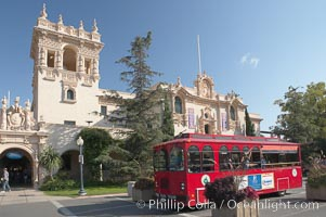 The House of Hospitality in Balboa Park, San Diego, and one of the free buses that shuttles tourists around the park