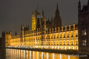 House of Parliment at Night. Houses of Parliment, London, United Kingdom, natural history stock photograph, photo id 28282
