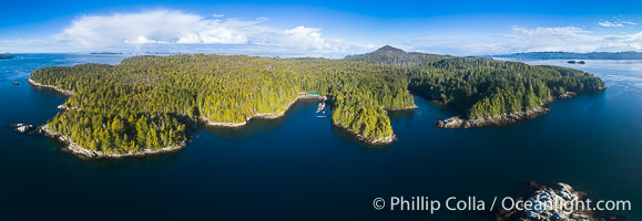 Hurst Island and Gods Pocket Provincial Park, aerial photo. Gods Pocket Provincial Park, Vancouver Island, British Columbia, Canada, natural history stock photograph, photo id 34464