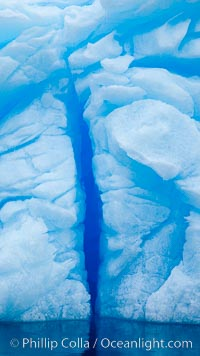 Iceberg detail.  Cracks and melt patterns.  Blue ice. Brown Bluff, Antarctic Peninsula, Antarctica, natural history stock photograph, photo id 24801