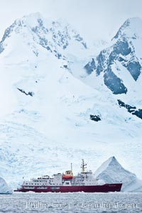 Icebreaker M/V Polar Star, at anchor, Cierva Cove. Antarctic Peninsula, Antarctica, natural history stock photograph, photo id 25517