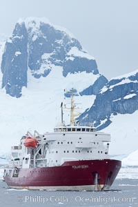 Icebreaker M/V Polar Star, anchored near Peterman Island, Antarctica. Peterman Island, Antarctic Peninsula, Antarctica, natural history stock photograph, photo id 25606