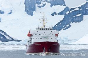 Icebreaker M/V Polar Star, anchored near Peterman Island, Antarctica