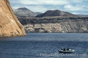 Freedivers and skiff near Isla Adentro, Guadalupe Island (Isla Guadalupe)