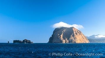 Isla Adentro (right) and Church Rock (partially obscured), sunrise, Guadalupe Island (Isla Guadalupe)