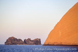 Isla Adentro (right) and Church Rock (partially obscured), sunrise, Guadalupe Island (Isla Guadalupe)