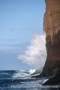 Waves crash against eastern cliffs of Isla Afuera. Guadalupe Island (Isla Guadalupe), Baja California, Mexico, natural history stock photograph, photo id 03703