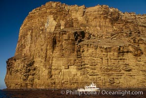 Boat Horizon below sea cliffs at Isla Afuera. Guadalupe Island (Isla Guadalupe), Baja California, Mexico, natural history stock photograph, photo id 05627