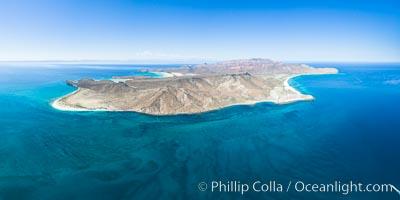 Isla Espiritu Santo, aerial photo, viewed from San Lorenzo Channel. Isla Espiritu Santo, Baja California, Mexico, natural history stock photograph, photo id 32364