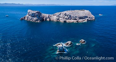 Isla Las Animas, panoramic aerial photo, Sea of Cortez. Isla Las Animas, Baja California, Mexico, natural history stock photograph, photo id 33668