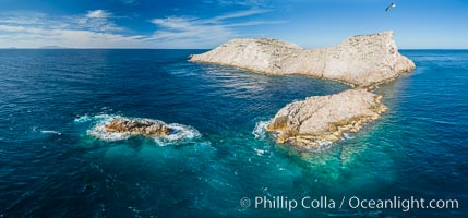 Isla Las Animas, panoramic aerial photo, Sea of Cortez. Isla Las Animas, Baja California, Mexico, natural history stock photograph, photo id 33678