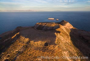 Isla Partida highlands at Sunrise, view toward Punta Maru and Los Islotes, Aerial Photo