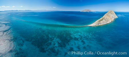 Isla San Diego and Coral Reef, reef extends from Isla San Diego to Isla San Jose,  aerial photo, Sea of Cortez, Baja California