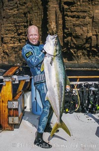 Joe Tobin with world record yellowtail, Guadalupe Island, Mexico, Guadalupe Island (Isla Guadalupe)