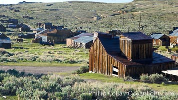 Johl Barn and town of Bodie, viewed from McDonald House on Fuller Street, Bodie State Historical Park, California
