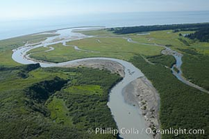 Johnson River, side waters and tidal sloughs, flowing among sedge grass meadows before emptying into Cook Inlet, Lake Clark National Park, Alaska