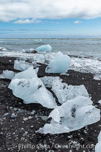 Jokulsarlon the famous black sand beach with ice cubes on it, Iceland