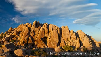 Sunset and boulders, Joshua Tree National Park.  Sunset lights the giant boulders and rock formations near Jumbo Rocks in Joshua Tree N.P