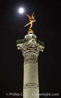 July Column in the Place de la Bastille. The Place de la Bastille is a square in Paris, where the Bastille prison stood until the 'Storming of the Bastille' and its subsequent physical destruction between 14 July 1789 and 14 July 1790 during the French Revolution. The square straddles 3 arrondissements of Paris, namely the 4th, 11th and 12th. The July Column (Colonne de Juillet) which commemorates the events of the July Revolution (1830) stands at the center of the square. Place de la Bastille, Paris, France, natural history stock photograph, photo id 28248