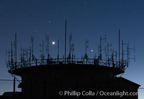 Jupiter (right), Venus (left) and stars at Night over Mount Laguna FAA Radar Site