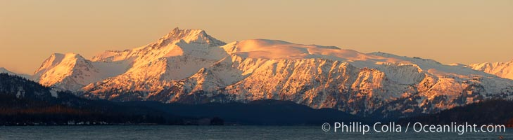 Kenai Mountains at sunrise, viewed across Kachemak Bay. Homer, Alaska, USA, natural history stock photograph, photo id 22739