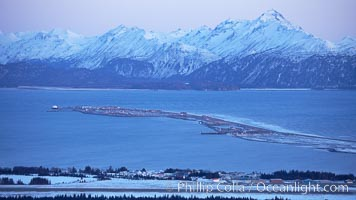 Kenai Mountains at sunset, viewed across Kachemak Bay, Homer, Alaska