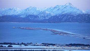 Kenai Mountains at sunset, viewed across Kachemak Bay. Homer, Alaska, USA, natural history stock photograph, photo id 22732