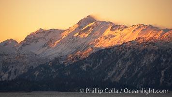 Kenai Mountains at sunset, viewed across Kachemak Bay. Homer, Alaska, USA, natural history stock photograph, photo id 22734
