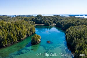 Kent Island anchorage, British Columbia, aerial photo. British Columbia, Canada, natural history stock photograph, photo id 35538