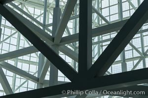 Los Angeles Convention Center, south hall, interior design exhibiting exposed space frame steel beams and glass enclosure