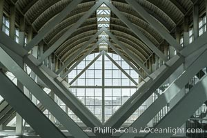Los Angeles Convention Center, south hall, interior design exhibiting exposed space frame steel beams and glass enclosure., natural history stock photograph, photo id 29152