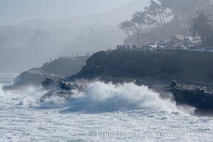 Giant surf crashes against the cliffs above La Jolla Caves, December 21, 2005, La Jolla Cove