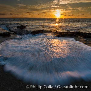 La Jolla coast sunset, waves wash over sandstone reef, clouds and sky. California, USA, natural history stock photograph, photo id 27890