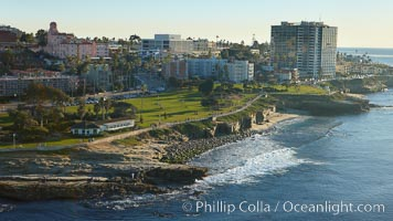 La Jolla Point (lower left) and Scripps Park, with old La Jolla shops, homes and Coast Blvd