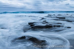 La Jolla reef and clouds, surf, early morning. La Jolla, California, USA, natural history stock photograph, photo id 30385