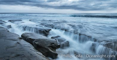 La Jolla reef and clouds, surf, early morning