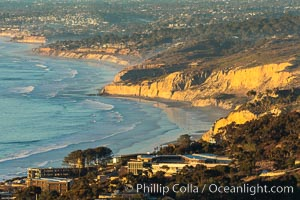 La Jolla Shores Coastline and Scripps Pier, aerial photo, sunset
