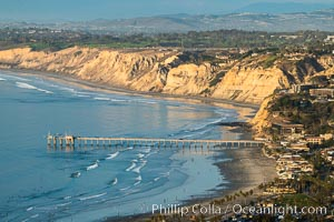 La Jolla Shores Coastline and Scripps Pier, Blacks Beach and Torrey Pines, aerial photo, sunset