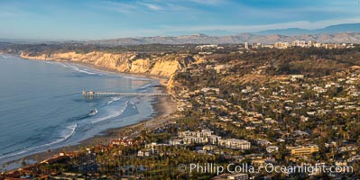 La Jolla Shores Coastline, Blacks Beach and Scripps Pier, aerial photo, sunset, panoramic photo