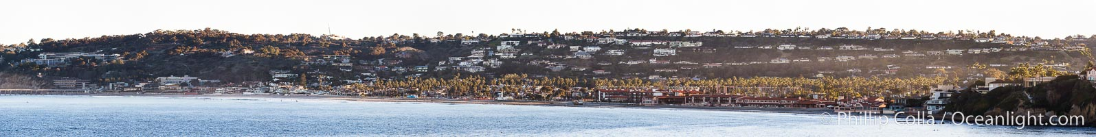 La Jolla Shores, viewed from Point La Jolla, panorama, morning