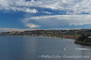 La Jolla Shores and the La Jolla Ecological Reserve and Underwater Park, looking north from the La Jolla sea caves.  Scripps Institution of Oceanography and its pier can be seen in the distance. California, USA, natural history stock photograph, photo id 14752
