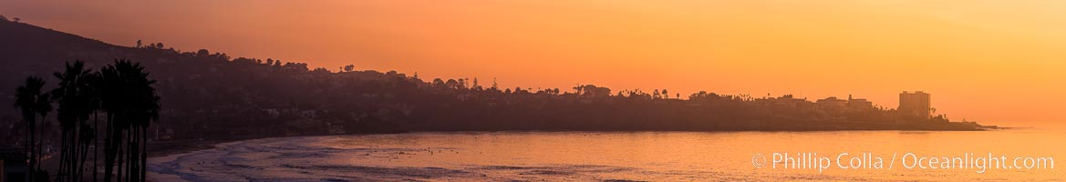 La Jolla sunset, Point La Jolla to the right, Mount Soledad to the left. California, USA, natural history stock photograph, photo id 28267
