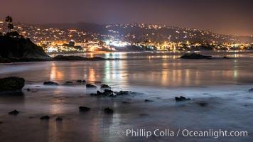 Laguna Beach coastline at night, lit by a full moon. Laguna Beach, California, USA, natural history stock photograph, photo id 28863
