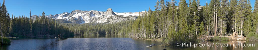 Panorama of Lake Mamie in the Mammoth Lakes basin, early morning