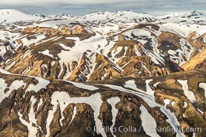 Landmannalaugar highlands region of Iceland, aerial view., natural history stock photograph, photo id 35723