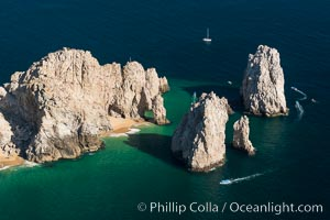 Aerial photograph of Land's End and the Arch, Cabo San Lucas, Mexico. Cabo San Lucas, Baja California, Mexico, natural history stock photograph, photo id 28890