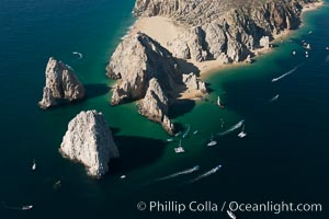 Aerial photograph of Land's End and the Arch, Cabo San Lucas, Mexico. Cabo San Lucas, Baja California, Mexico, natural history stock photograph, photo id 28895