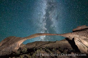 Landscape Arch and Milky Way, stars rise over the arch at night. Arches National Park, Utah, USA, natural history stock photograph, photo id 27868