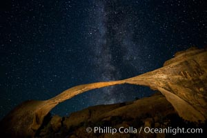 Landscape Arch and Milky Way, stars rise over the arch at night, Arches National Park, Utah